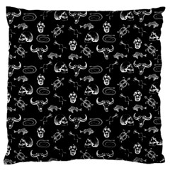Skeleton Pattern Large Flano Cushion Case (two Sides) by Valentinaart
