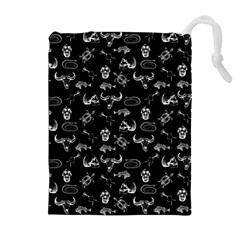 Skeleton Pattern Drawstring Pouches (extra Large) by Valentinaart