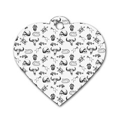 Skeleton Pattern Dog Tag Heart (two Sides) by Valentinaart