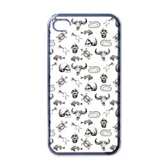 Skeleton Pattern Apple Iphone 4 Case (black) by Valentinaart