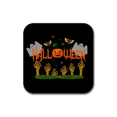 Halloween Rubber Square Coaster (4 Pack)  by Valentinaart