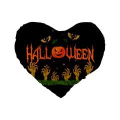 Halloween Standard 16  Premium Flano Heart Shape Cushions by Valentinaart