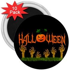 Halloween 3  Magnets (10 Pack)  by Valentinaart