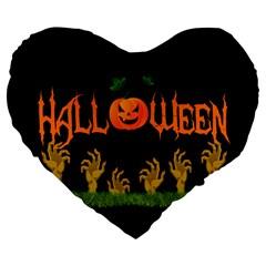 Halloween Large 19  Premium Heart Shape Cushions by Valentinaart