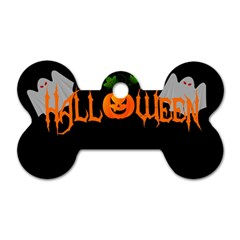 Halloween Dog Tag Bone (two Sides) by Valentinaart