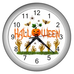 Halloween Wall Clocks (silver)  by Valentinaart