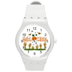 Halloween Round Plastic Sport Watch (m) by Valentinaart