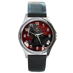 Awesmoe Black Horse With Flowers On Red Background Round Metal Watch by FantasyWorld7