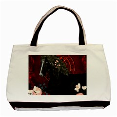 Awesmoe Black Horse With Flowers On Red Background Basic Tote Bag by FantasyWorld7
