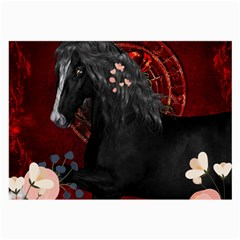 Awesmoe Black Horse With Flowers On Red Background Large Glasses Cloth (2 Side) by FantasyWorld7
