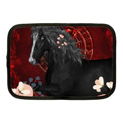 Awesmoe Black Horse With Flowers On Red Background Netbook Case (medium)  by FantasyWorld7