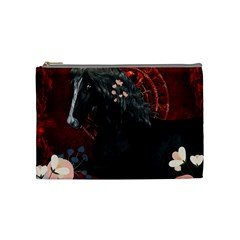 Awesmoe Black Horse With Flowers On Red Background Cosmetic Bag (medium)  by FantasyWorld7