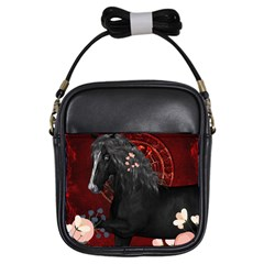 Awesmoe Black Horse With Flowers On Red Background Girls Sling Bags by FantasyWorld7
