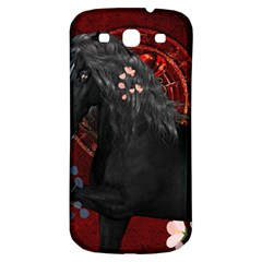 Awesmoe Black Horse With Flowers On Red Background Samsung Galaxy S3 S Iii Classic Hardshell Back Case by FantasyWorld7