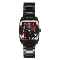 Awesmoe Black Horse With Flowers On Red Background Stainless Steel Barrel Watch by FantasyWorld7