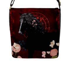 Awesmoe Black Horse With Flowers On Red Background Flap Messenger Bag (l)  by FantasyWorld7
