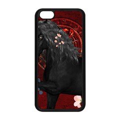 Awesmoe Black Horse With Flowers On Red Background Apple Iphone 5c Seamless Case (black) by FantasyWorld7