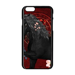 Awesmoe Black Horse With Flowers On Red Background Apple Iphone 6/6s Black Enamel Case by FantasyWorld7