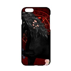 Awesmoe Black Horse With Flowers On Red Background Apple Iphone 6/6s Hardshell Case by FantasyWorld7