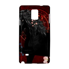 Awesmoe Black Horse With Flowers On Red Background Samsung Galaxy Note 4 Hardshell Case by FantasyWorld7
