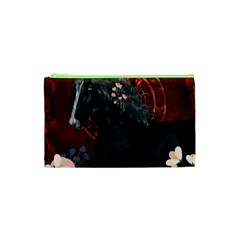 Awesmoe Black Horse With Flowers On Red Background Cosmetic Bag (xs) by FantasyWorld7