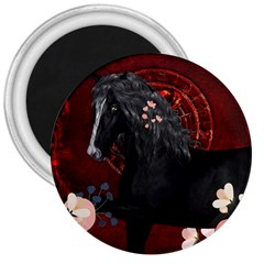 Awesmoe Black Horse With Flowers On Red Background 3  Magnets by FantasyWorld7