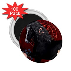 Awesmoe Black Horse With Flowers On Red Background 2 25  Magnets (100 Pack)  by FantasyWorld7