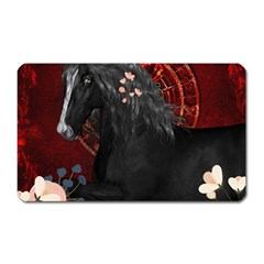 Awesmoe Black Horse With Flowers On Red Background Magnet (rectangular) by FantasyWorld7