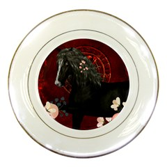 Awesmoe Black Horse With Flowers On Red Background Porcelain Plates by FantasyWorld7