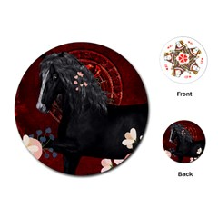 Awesmoe Black Horse With Flowers On Red Background Playing Cards (round)  by FantasyWorld7