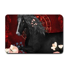 Awesmoe Black Horse With Flowers On Red Background Small Doormat  by FantasyWorld7