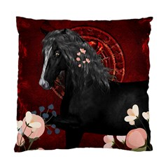 Awesmoe Black Horse With Flowers On Red Background Standard Cushion Case (one Side) by FantasyWorld7