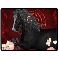 Awesmoe Black Horse With Flowers On Red Background Fleece Blanket (large)  by FantasyWorld7