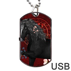 Awesmoe Black Horse With Flowers On Red Background Dog Tag Usb Flash (two Sides) by FantasyWorld7