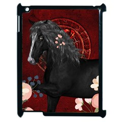 Awesmoe Black Horse With Flowers On Red Background Apple Ipad 2 Case (black) by FantasyWorld7