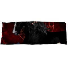 Awesmoe Black Horse With Flowers On Red Background Body Pillow Case Dakimakura (two Sides) by FantasyWorld7