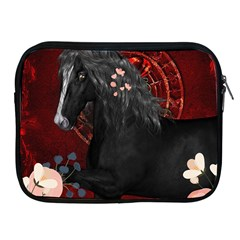 Awesmoe Black Horse With Flowers On Red Background Apple Ipad 2/3/4 Zipper Cases by FantasyWorld7