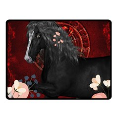 Awesmoe Black Horse With Flowers On Red Background Double Sided Fleece Blanket (small)  by FantasyWorld7