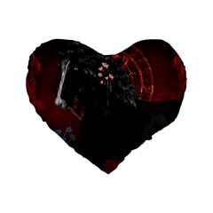 Awesmoe Black Horse With Flowers On Red Background Standard 16  Premium Flano Heart Shape Cushions by FantasyWorld7