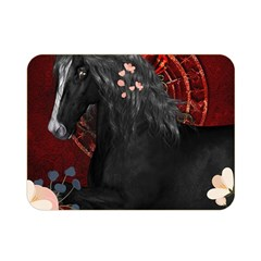 Awesmoe Black Horse With Flowers On Red Background Double Sided Flano Blanket (mini)  by FantasyWorld7