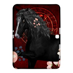 Awesmoe Black Horse With Flowers On Red Background Samsung Galaxy Tab 4 (10 1 ) Hardshell Case  by FantasyWorld7