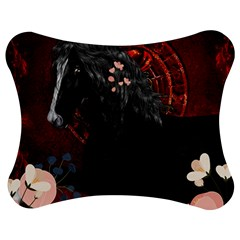 Awesmoe Black Horse With Flowers On Red Background Jigsaw Puzzle Photo Stand (bow) by FantasyWorld7