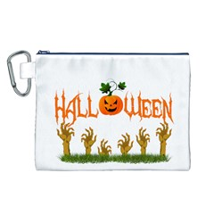 Halloween Canvas Cosmetic Bag (l) by Valentinaart