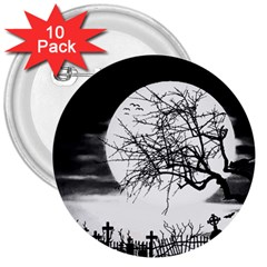 Halloween Landscape 3  Buttons (10 Pack)  by Valentinaart