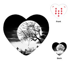 Halloween Landscape Playing Cards (heart)  by Valentinaart