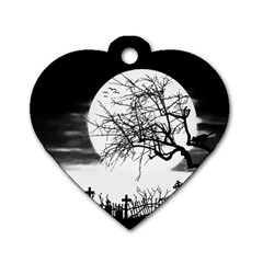Halloween Landscape Dog Tag Heart (one Side) by Valentinaart