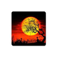 Halloween Landscape Square Magnet by Valentinaart
