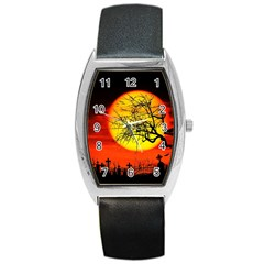 Halloween Landscape Barrel Style Metal Watch