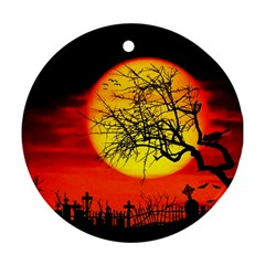 Halloween Landscape Round Ornament (two Sides) by Valentinaart