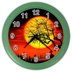 Halloween Landscape Color Wall Clocks by Valentinaart